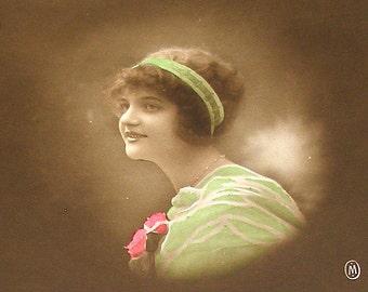 Antique French postcard, Edwardian lady in green, real photo postcard (RPPC), paper ephemera.