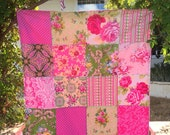 32x40 Pink & Green Baby Blanket Ready to Ship