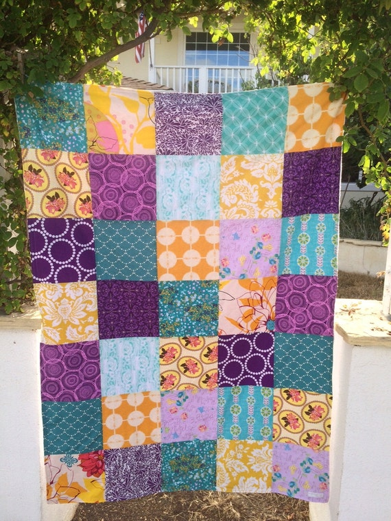Ready to Ship 40x56 Purple, Teal & Gold Throw