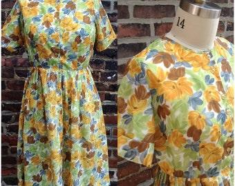 1950s painterly floral button-front dress, (L)