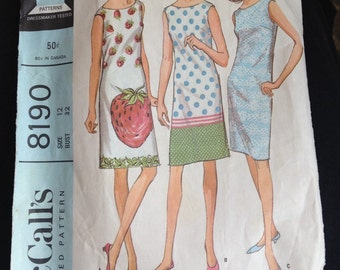 Vintage 60s Sack Dress Pattern by McCalls #8190 Size 12, Bust 32...Shift Dress