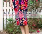LillyAnnaKids Women's knit Floral pencil skirt