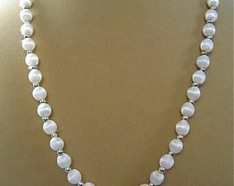 Vintage Cream Silk Bead Necklace