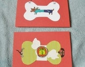 Christmas Red Dachshund Bone collage Cards Set Of 2 With Envelopes