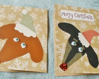 Christmas Dachshund Faces Collage Card Set Of 2 Cards With Envelopes