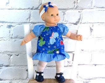 Bitty Baby Clothes, Snowflake Dress, Matching Headband, Ruffle Tights, Dress and Leggings