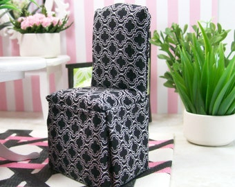 Black White Parsons Chairs Dining Room Upholstered 1:12 Dollhouse Miniature