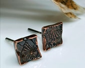 Copper Symbol Stud Earrings, Hammered Fossil Stamp, Men's Studs, Women's Post Earrings, Organic, Tribal, Unique, OOAK, Ancient, Relic