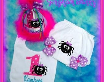 Spider Cake Smash, Itsy Bitsy Spider Birthday Hat, Bib and Ribbon Bloomers,  Spider 1st Birthday Hat, By Gingham  Bunny