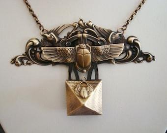 Egyptian Opening Pyramid Treasure Keeper, Powerful Scarab Beetle Design, Custom Designed, Metalsmithed Craftmanship, Limited Addition, USA