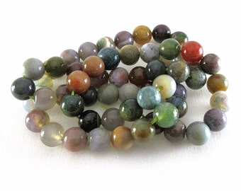 Fancy India Agate - 8mm round beads - 16-inch Strand