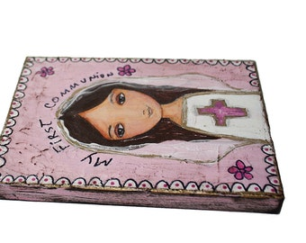 First Communion Girl with Cross - Original Painting on Wood Block by FLOR LARIOS (6 x 8 inches)