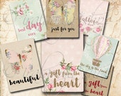 FROM THE HEART TAgS Collage Digital Images -printable download  file- Scrapbook paper