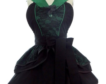 Retro Apron - Wicked Witch Womans Aprons - Vintage Apron Style - Wizard of Oz Pin up Rockabilly Cosplay Lolita