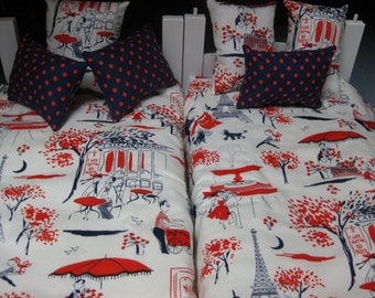 """8 Piece Reversible Paris American girl Inspired  Bunkbed set 2 Bedspreads  6 Pillows 18"""" doll Cotton Batting on the Inside"""