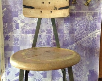 Vintage Industrial Pollard Brother's Shop Stool