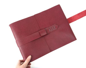 Memory Book: Crimson and Grey fine leather scrapbook or photo album. Hand made in Britain, ships worldwide.