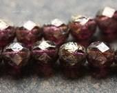 10% off GOLDEN GRAPE PEBBLES .. 25 Picasso Czech Glass Beads 6mm (4184-st)