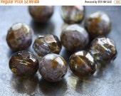 10% off BRONZE PLUM MIX .. 10 Premium Picasso Glass Czech Bead Mix 8mm (4564-10)