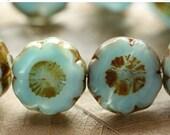 10% off GEORGIA BLUES .. 4 Picasso Czech Glass Flower Beads 13-14mm (4412-4)