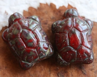 10% off RED TURTLES .. NEW 2 Czech Picasso Glass Turtle Beads 20x8mm (5304-2)