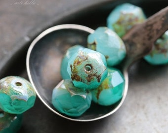 10% off TEAL BEACH .. NEW 10 Premium Czech Picasso Rondelle Glass Beads 6x8-9mm (5287-10)