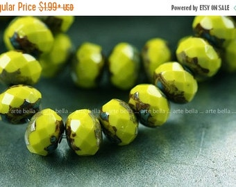 10% off sale .. NEON PEBBLES .. Picasso Czech Glass Rondelle Beads 6x4mm (3993)