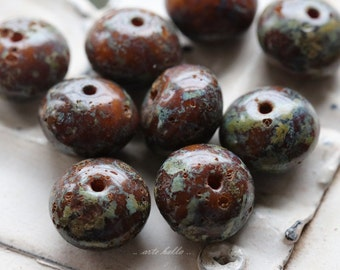CHESTNUT SPLASH .. 10 Premium Picasso Czech Glass Rondelle Beads 6x9mm (4427-10)