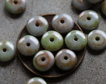 LILAC SAGE DISC .. 20 Premium Picasso Czech Glass Disc Beads 6x2mm (4728-20)