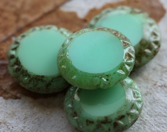 sale .. MINT SUN .. 4 Premium Picasso Czech Chunky Coin Beads 16mm (4780-4)