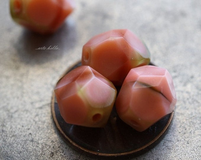 PINK PEACH NUGGETS .. 6 Czech Faceted Glass Nugget Beads 9-10mm (5131-6)