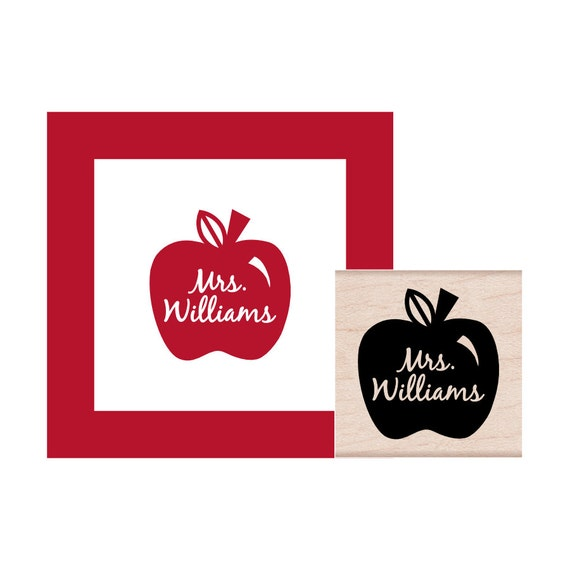 Teacher Apple Personalized Rubber Stamp