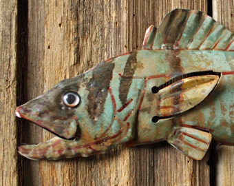 Walleye Pike - copper metal fish sculpture - wall hanging - with blue green and naturally-aged patinas - OOAK