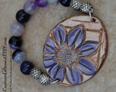 SALE Pottery Bracelet with flower and Accented with Agate Beads