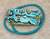 SALE Turquoise and Brown Old Fashion Keys Pottery Bead with a wrap turquoise leather