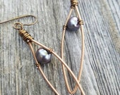 Recycled Guitar String Earrings Freshwater Pearl Earrings Earrings Upcycled Earrings Purple Earrings Brass Earrings Eco - MADE TO ORDER
