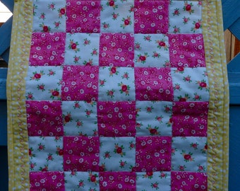 Small Quilt, Wall Hanging, Table Topper, Doll Quilt, Yellow and Pink