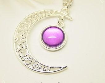 "Necklace ""Gealaí"" Celtic Moonlight Cristalized Violet Purple"