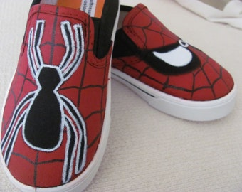 Adult hand painted Spiderman shoes