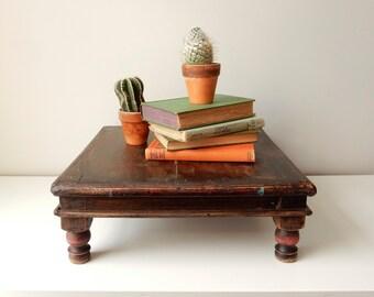 Antique Primitive Tea Table, Vintage Wood Altar Table