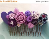 ON SALE Purple Day of the Dead Sugar Skull Cluster Hair Comb - Fascinator Kitschy CoolOffbeat Wedding Bride Horror Gore Tattoo Inspired