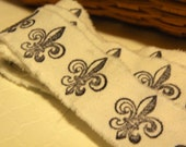 Fleur De Lis Hand Stamped Ribbon  -  Cotton Muslin   Hand Stamped   -  Six Feet  -  One~Of~A~Kind