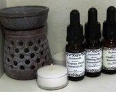 Soapstone Oil Burner Set With Essential Oil Blend & Two Tealight Candles - Choice Of Essential Oil Blend -  Gift Set