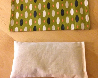 Organic Flaxseed and Lavender Eye Pillow with washable cover, organic cotton cover