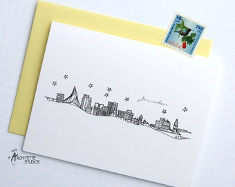 Jerusalem, Israel - Asia/Pacific - City Skyline Series - Folded Cards (6)