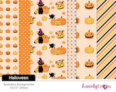 Halloween pumpkin, digital paper pattern seamless background designs (TPS164)