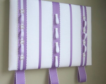 16x20 Ribbon Board Will Hold Hair Clips, Headbands, Ponytail Elastics, Photos White & Lavender