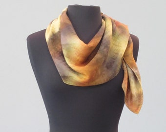 Caramel Hand Painted Silk Scarf