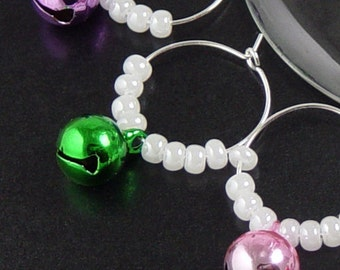 Wine Charms 6 Silver JINGLE BELL Beads Stemware Glass Green Red Purple Gold Pink Gifts Wedding Favors (1039win20s1)