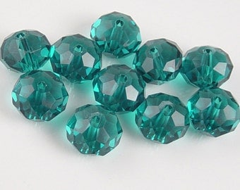 Glass Bead 10 Suncatcher Rondelle Green'ish Blue 12mm x 8mm (1015gla12b4)